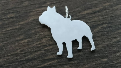 Frenchie dog Charm silhouette solid sterling silver Handmade in the Uk